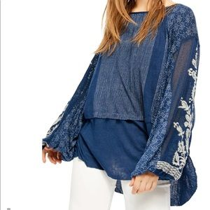Free People Indigo Dreams Embroidered Navy Tunic